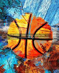 A very colorful and modern basketball art print design by takumipark. It is an unframed basketball photo print. Great for anybody looking for basketball pictures. #basketball #sports #modernart #mancave #basketballart #urbanart #boysroom #posters #photos