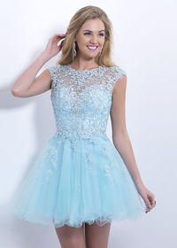 Pale Blue Cap Sleeves Beaded Lace Open Back Short Prom Dress 2015