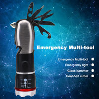 Multi-tool Flashlight 9 In 1 LED Zoomable Focus Torch With Car-Safety Hammer Screwdriver Flashlight