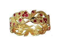 18K Yellow gold Leaves Band with Rubies Filigree Ring Milgrain Twig Ring $1270.30