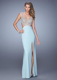 Side Cut Outs Sheer Straps Seafoam Prom Dress With High Slit