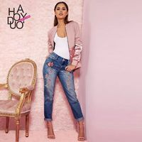 Vogue Embroidery High Waisted Pocket Zipper Up Floral Fall Jeans - Bonny YZOZO Boutique Store