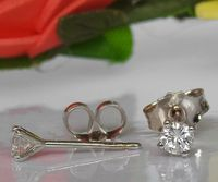 Solid White Gold Girls Stud earrings, 14K Small Earrings, White Sapphire Studs, Christmas Gift $124.30