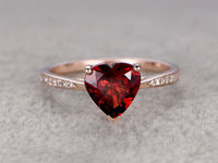 8mm Heart Garnet Engagement ring Diamond wedding band 14K Rose Gold Red stone Promise Ring Bridal Ring Birthstone Ring Fine Fashion design