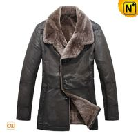 Multifunctional Coat   CWMALLS® Men Shearling Leather Coats CW819072[Free Custom Made, Father's Day Gift]