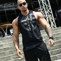 New Brand mens Hooded vest Summer Cotton Slim Fit Men Tank Tops Clothing Bodybuilding Undershirt Golds Fitness tops tees $11.5020% off code: fairytale