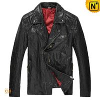 Mens Distressed Leather Biker Jacket Black CW850204