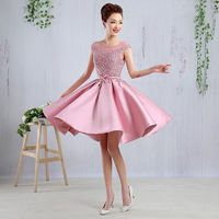 2016 New Short Cap Sleeves Lace Appliques Lace Up Back Party Bridesmaid Homecoming Cocktail Prom Evening Dress With Stain Belt
