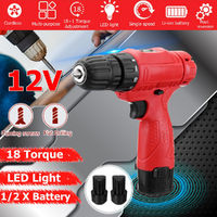 12V Cordless Rechargeable Power Drills Electric Drill Driver W/ 1 or 2 Li-ion Battery