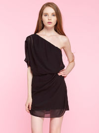 One-shoulder Ruched Chiffon Dress in Black