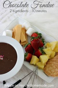 This Easy Chocolate Fondue has only 2 ingredients and can put made in under 10 minutes! No need for a fancy fondue pot either!