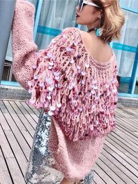 Loose Sequined Tassel Knit Cardigan Sweater Coat $99.00
