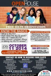 free #IELTS orientation on October 11, 2014. Free diagnostic exam plus save 1000Php (500 off IELTS exam fee; 500 of review free)