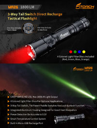 Fitorch MR26 XHP-35 LED 1800LM 6Modes 3-Way Tail Switch IPX8 Waterproof LED Flashlight 18650 Battery