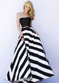 Sherri Hill 32221 Black White Beaded Top Striped Two Piece Gown 2015