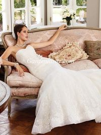 Mermaid/Trumpet Strapless Chapel Train Appliques Shiny Crystals Tulle Wedding Dress 2014