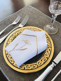 handmade 24k gold thread embroidery on a pure French Linen napkins $101.89