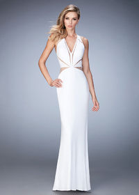 Polished V-Neck White Fitted Jersey Evening Gown