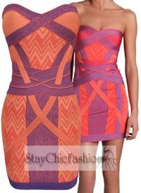 Pink Colorblocked Strapless Celebs Bandage Dress Shop