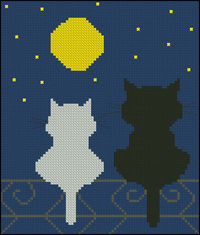 Free cross-stitch pattern �€œNight cats