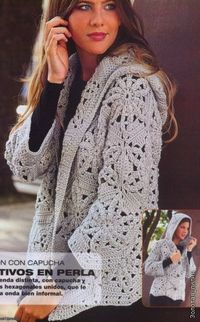 Crochet hooded sweater �™�LCT-MRS�™� with diagram.