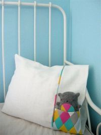 pocket pillowcase....bigger pocket for Alexi animals....smaller pocket for Zoe tissues....