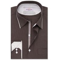 Create a stylish look with this Oxford Men Brown Self Stripe dress shirt. Woven in Egyptian cotton this dress shirt has a fine finish.  �€� 100% Superfine Egyptian Cotton  �€� Classic collar  �€� French cuff  �€� Oxford...