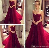 2017 Burgundy Overskirts Dress Evening Wear Sweetheart Neck Lace Tulle Detachable Train Cheap Prom Dresses Spring Party Wear Custom Made Prom Dresse Prom Dressed From Kiss wedding, $149.89| Dhgate.Com