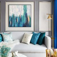 Blue green original acrylic Painting on Canvas Modern abstract Contemporary Wall Art pictures for living room extra Large cuadros abstracto $104.75