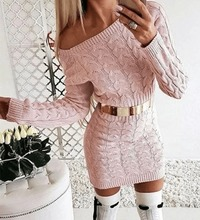 Drop Shoulder Cable Knit warm Sweater Dress-Pink at www.fashionsqueen.com