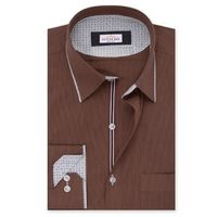 Create a stylish look with this Oxford Men brown self striped designer shirt. Woven in Egyptian cotton & polyester. this shirt has a fine finish.  �€� 80%Cotton & 20%Polyester  �€� Classic collar  �€� French cuff ...