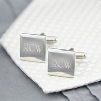 Best Seller - Personalized Square Cufflinks in Silver