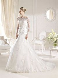 Romantic mermaid full sleeves court train lace wedding dresses