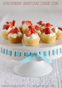 Strawberry Shortcake Cookie Cups, a most delicious dessert for summer your family will love.