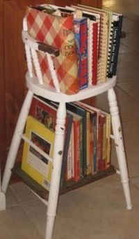 Highchair cookbook rack - I have my dad's original highchair which is an antique now since he just celebrated his 89th birthday - and it sits in the corner of my country kitchen. Idea! Transform it without damaging it to this cookbook holder! Love you...