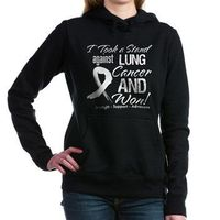 I Took a Stand Against Lung Cancer and Won shirts & gifts featuring a distressed pearl white ribbon for celebration of your survivorship by HopeAwarenessRibbons.Com