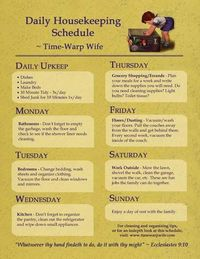 Free Printable - Daily Housekeeping Schedule (high resolution)