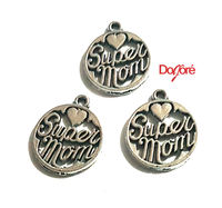 CLEARANCE Pack of 20 Silver Coloured Mom Charms. 8mm Super Mum Pendants £8.99