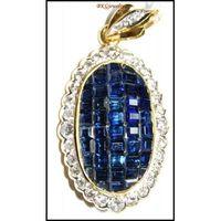 18K Yellow Gold Natural Diamond Blue Sapphire Brooch/Pendant [I 022]