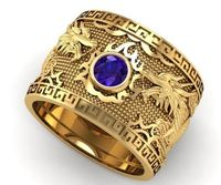 Sapphire Dragon Ring Yellow Gold Wide Band Mens Ring Blue Ring Gift for Man Large Engraved Heavy Ring Unique Ring Engagement Ring $3864.00