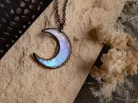 Blue small Moon pendant with irisation, crescent watercolor Lunula, Double Horn Pendant, simple moon, Boho Necklace - Luna, $17.00