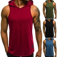 2018 New Products - Men Bodybuilding Cotton Sleeveless Top Solid Stringer Hoodie $30.99