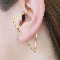 Gold Triangle Ear Climber Handmade Triangle Earrings Gold Filled/925 Silver Jewelry Oorbellen Minimalist Earrings for Women $25.58
