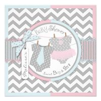 Pink Tutu & Blue Tie & Chevron Twin Baby Shower