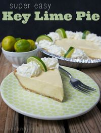 On Monday I shared a Sour Cream Lemon Pie, so I figured I better share this Key Lime Pie Recipe for all the lime fans out there. It's delicious, refreshing, and