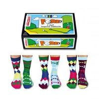 Tee off your day with Fore! 6 fairway inspired oddsocks perfect for distracting attention if you are about to drop a bogey. Mix and mismatch to create 15 big hitting combinations that will keep your feet out of the rough all the way to the 19th hole! Thes...