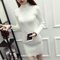Long Sleeve Turtleneck Sweater Knee-Length Dress $17.90