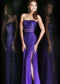 Long Purple Slit Sequin Prom Dress