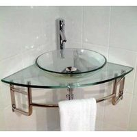 Glass corner sink
