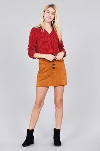 Front Patch Pocket 3/4 Roll Up Sleeve Shirt Top $21.00